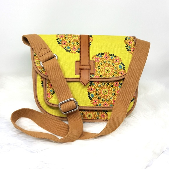 Floral Abstract Crossbody Tote Corduroy with Magnetic Closure Adustable Strap Large Pocket